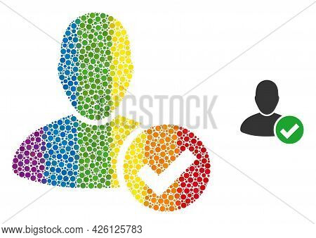 Valid User Collage Icon Of Circle Elements In Different Sizes And Rainbow Colorful Color Tints. A Do