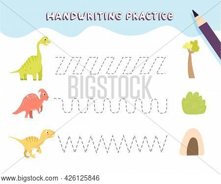 Handwriting Practice For Preschool Children. Tracing Lines With Colorful Dinosaurs. Educational Kids