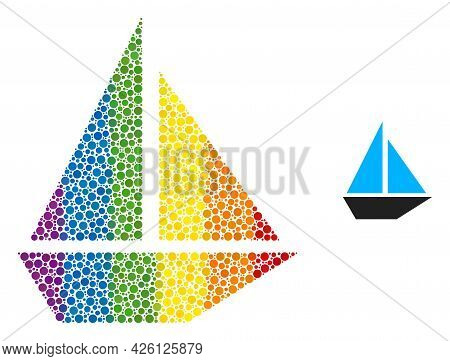 Yacht Mosaic Icon Of Filled Circles In Different Sizes And Spectrum Colorful Color Tones. A Dotted L