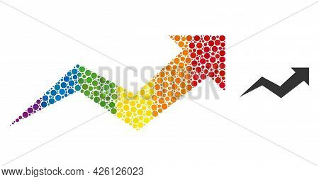 Growing Arrow Chart Composition Icon Of Circle Elements In Various Sizes And Spectrum Bright Color T