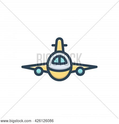 Color Illustration  Icon For Plan Aeroplane Flying Aircraft Airline Passenger Travel Transport Trans