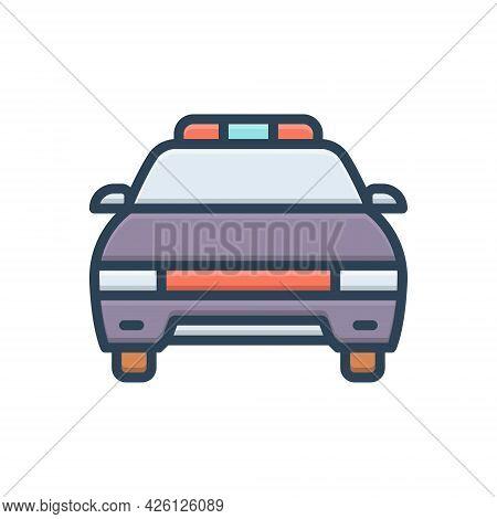 Color Illustration  Icon For Police-car Vehicle Car Cop Patrolling Transportation Light Surveillance