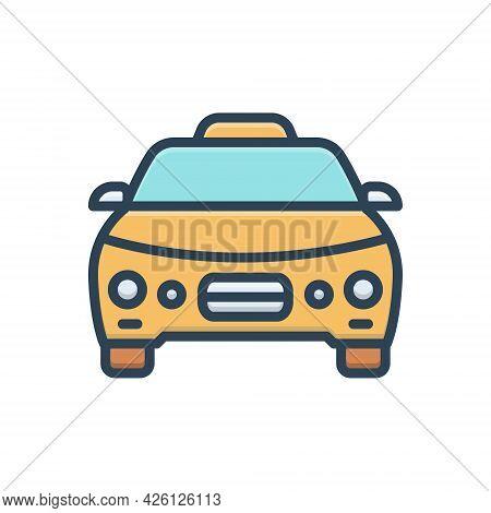 Color Illustration  Icon For Taxi Cab Automobile Transportation Vehicle Rental Passenger