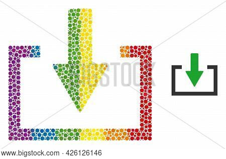 Download Mosaic Icon Of Filled Circles In Various Sizes And Rainbow Color Hues. A Dotted Lgbt-colore