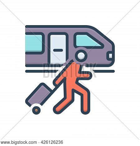 Color Illustration  Icon For Passenger-train Passenger Train Railway-station Platform Luggage