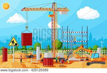 Construction Site Banner. Mixer, Workers, Concrete Piles, Tower Crane. Under Construction Design Bac