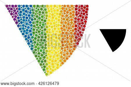 Circle Sector Mosaic Icon Of Round Dots In Variable Sizes And Rainbow Colorful Color Tinges. A Dotte