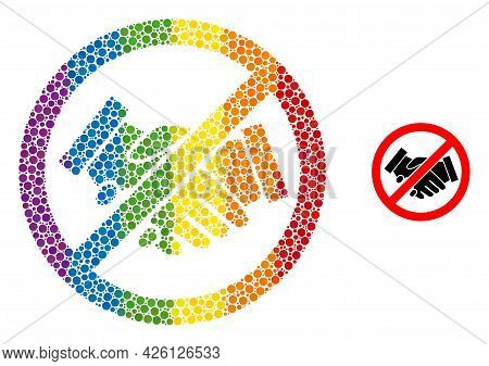 Stop Handshakes Mosaic Icon Of Spheric Dots In Various Sizes And Spectrum Colored Color Tints. A Dot
