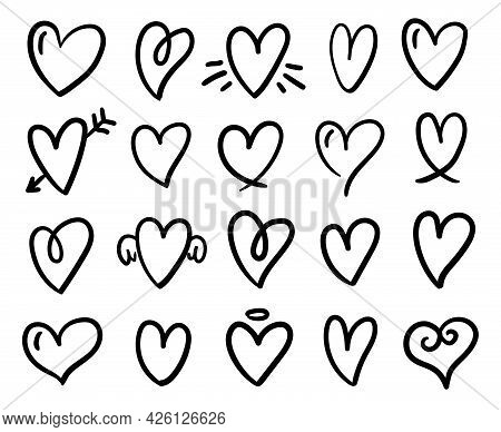 Heart Doodles Collection. Hand-drawn, Doodle Elements Isolated On White Background.