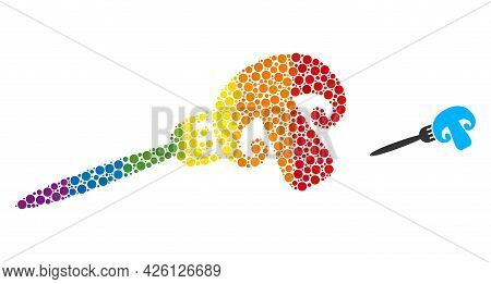 Champignon Fork Collage Icon Of Round Dots In Variable Sizes And Spectrum Colored Shades. A Dotted L