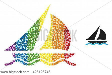 Sailing Collage Icon Of Circle Elements In Various Sizes And Spectrum Bright Color Tones. A Dotted L