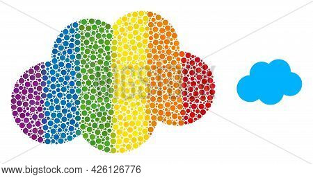 Cloud Mosaic Icon Of Filled Circles In Various Sizes And Rainbow Color Tints. A Dotted Lgbt-colored