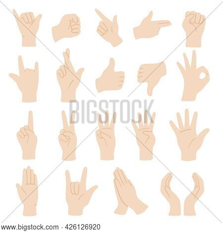Vector Flat Style Set Of Various Hands Gestures. Isolated On White Background.