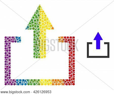 Upload Collage Icon Of Round Dots In Various Sizes And Spectrum Color Tones. A Dotted Lgbt-colored U