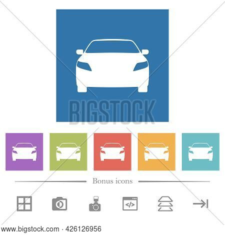 Sport Car Front View Flat White Icons In Square Backgrounds. 6 Bonus Icons Included.