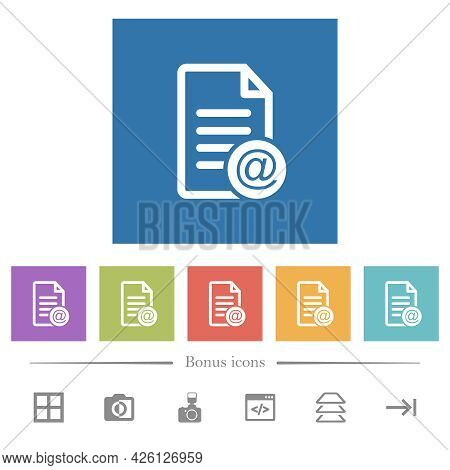 Send Document As Email Flat White Icons In Square Backgrounds. 6 Bonus Icons Included.