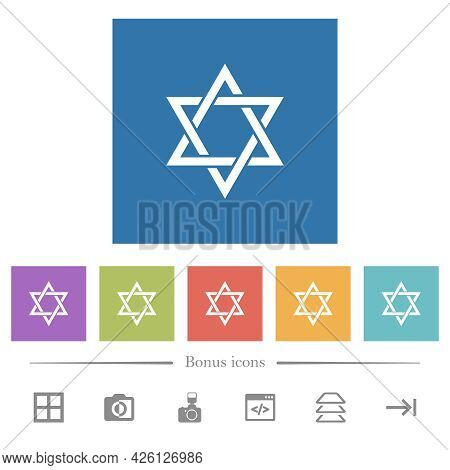 Star Of David Flat White Icons In Square Backgrounds. 6 Bonus Icons Included.
