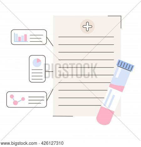 Medical Test Result. Hospital Checkup Record With Testing Tube Icon. Clinic Report With Blood Sample