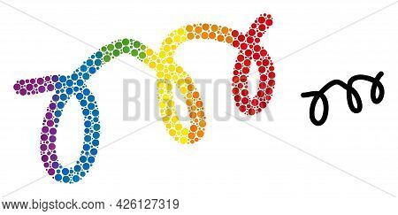 Spiral Microbe Composition Icon Of Filled Circles In Different Sizes And Spectrum Color Tones. A Dot