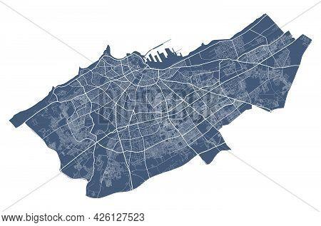 Casablanca Map. Detailed Vector Map Of Casablanca City Administrative Area. Cityscape Poster Metropo
