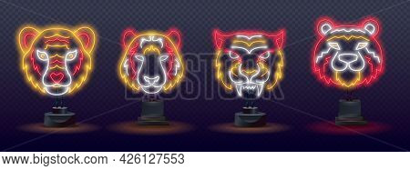 Set Of Neon Blue Water Tiger 2022. Neon Chinese New Year 2022 Year Of The Tiger, Line Art Character,
