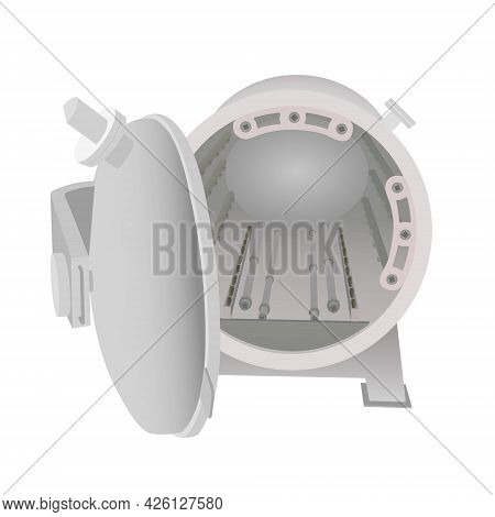 Autoclave Batch Retort Sterilization In Food Industry. Vector Illustration Design.