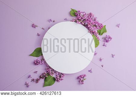 Blossom Syringa Vulgaris In Lilac Flower And Blank Paper Card For Text Message.top View. Romantic Fl