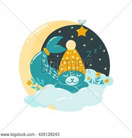 Cute Seal Sleeps On The Moon. Children Illustration In The Scandinavian Style. Bedroom Decor. Vector