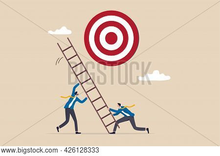 Develop Ladder To Success, Set Business Goal, Target, Purpose And Objective, Partnership And Teamwor