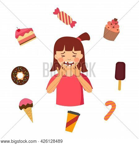 Cute Girl Suffering From Toothache Painful A Cavity Character With Sweet Dessert Around In Flat Desi