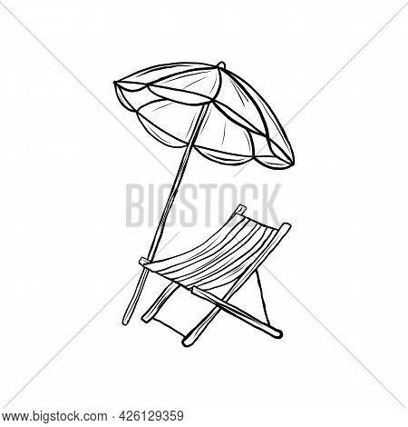 Lounge Chair With Sun Umbrella Vector Draw Illustration
