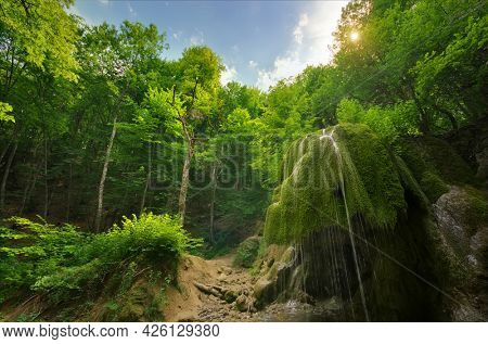 Waterfall in deep forest. Nature composition.
