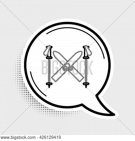 Line Ski And Sticks Icon Isolated On Grey Background. Extreme Sport. Skiing Equipment. Winter Sports
