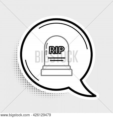 Line Tombstone With Rip Written On It Icon Isolated On Grey Background. Grave Icon. Colorful Outline