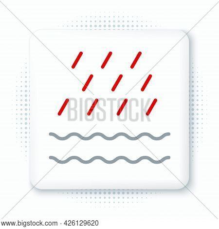 Line Rain And Waves Icon Isolated On White Background. Rain Cloud Precipitation With Rain Drops. Col