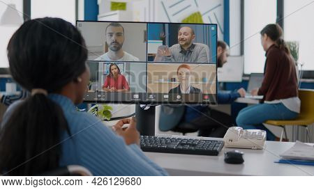 Disabled Black Manager Discussing With Remote Team Using Videocall Talking Online During Virtual Mee