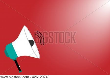 Megaphone Or Sound Speaker On Red Background With Copy Space For Banner,poster,flyer, Marketing,shop