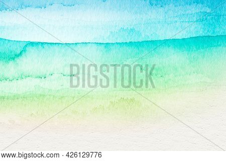 Ombre green watercolor style background illustration