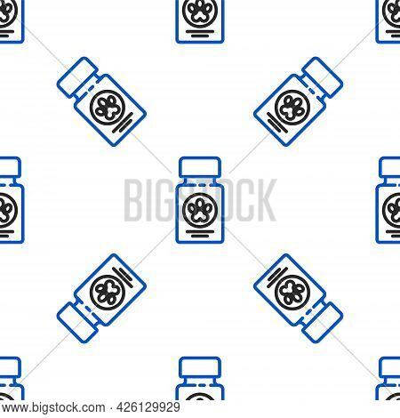 Line Dog Medicine Bottle And Pills Icon Isolated Seamless Pattern On White Background. Container Wit