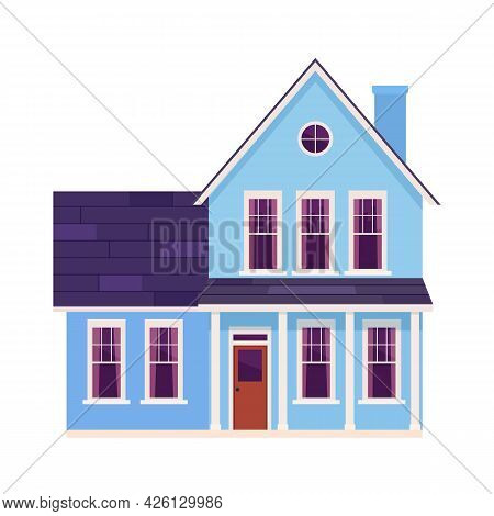 Cute Cartoon House. House Exterior Front View In Trendy Flat Style. Townhouse Building. Home Facade