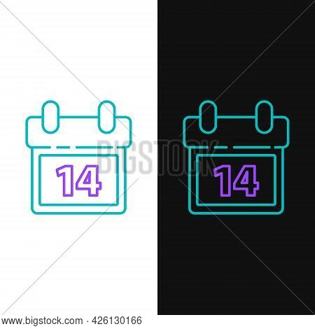 Line Calendar With February 14 Icon Isolated On White And Black Background. Valentines Day. Love Sym