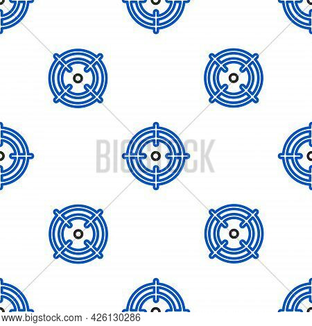 Line Target Sport Icon Isolated Seamless Pattern On White Background. Clean Target With Numbers For