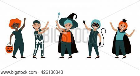 Set Of Isolated Boys In Halloween Costumes. Cute Carnival Costumes For Boys On Halloween Cat, Sorcer