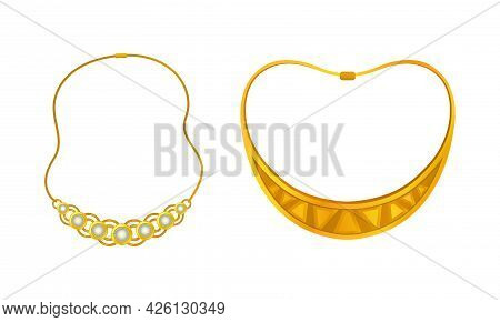 Jewellery Or Jewelry Item As Personal Adornment With Necklace Vector Set