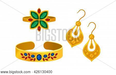 Jewellery Or Jewelry Item As Personal Adornment With Earrings And Ring Vector Set