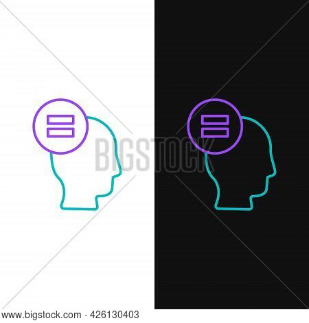 Line Calculation Icon Isolated On White And Black Background. Colorful Outline Concept. Vector