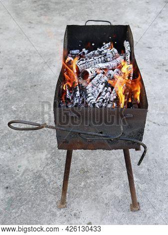 Kebabs Preparing On A Barbecue Grill, Shashlik Preparing On A Mangal, Marinated Meat Preparing On A