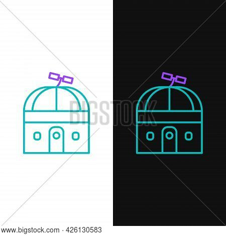 Line Astronomical Observatory Icon Isolated On White And Black Background. Observatory With A Telesc