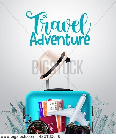 Travel Adventure Vector Background Design. Travel Adventure Text In Empty Space With Traveler Luggag