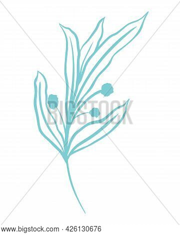 Simple Silhouette Of A Sheet, Vector Illustration. Single Stem With Leaves, Outline. Botanical Grace